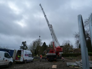Crane on site to lift in walls of fuel silo 26 January 2015