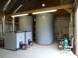 The oil backup boilers and buffer tanks